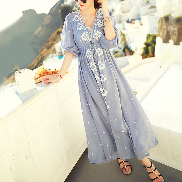 d80174743e4 Ethnic Embroidery Bohemian Boho Hippie Dress Maxi Long Linen vintage Tunic  white blue Beach women summer ...