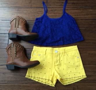 shorts yellow shorts embroidery