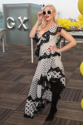 jacket asymmetrical asymmetrical dress gwen stefani ruffle polka dots black and white dress