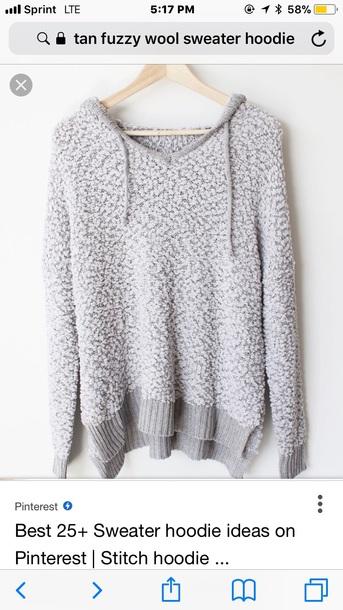 sweater gray knit hoodie sweater fluffy