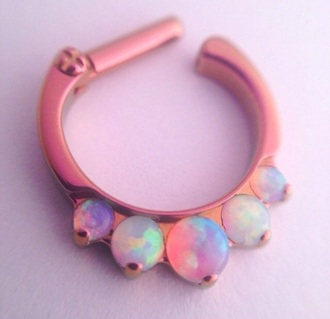 jewels pink piercing septum piercing clicker colorful tumblr pale