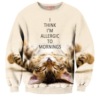 sweater cats sweatshirt crewneck jumper pullover lazy day quote on it printed sweater