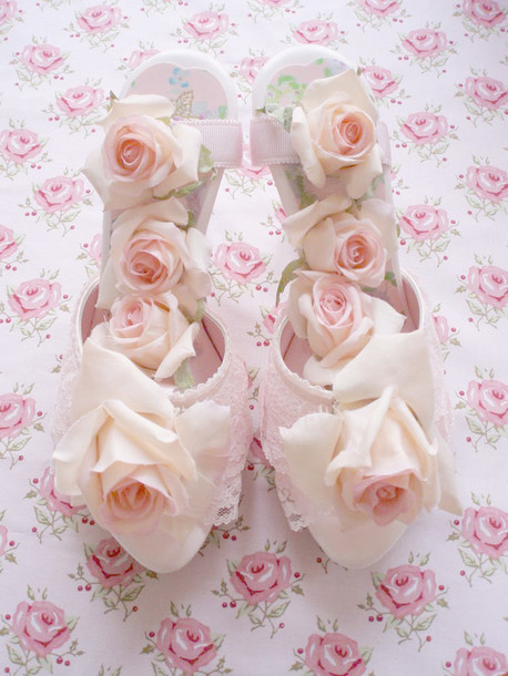 shoes roses floral lace cute pink heels