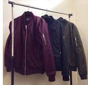 coat,bomber jacket,burgundy,burgundy jacket,jacket,black,black jacket,long sleeves,zipper jacket,zip,gold zipper,button,buttons,army green jacket,green jacket,green,collar,collared jacket,swag,fashion,dope,tumblr,street,streetwear,streetstyle,urban