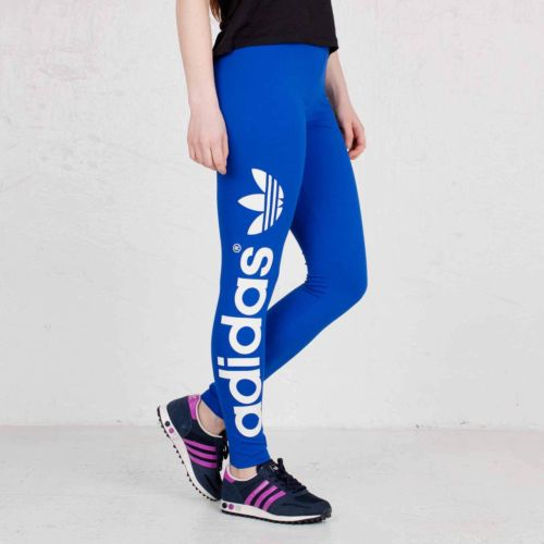 Adidas Originals Womens Trefoil Blue Legging Tights Pants | eBay