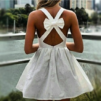 dress white dress bow dress bows short dress cross body dress