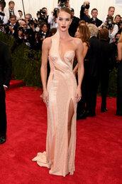 dress,gown,asymmetrical,rosie huntington-whiteley,bustier dress,red carpet dress,red carpet,met gala,metgala2015