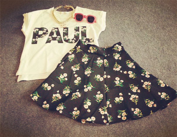 shirt floral logo floral white tees summer outfits t-shirt