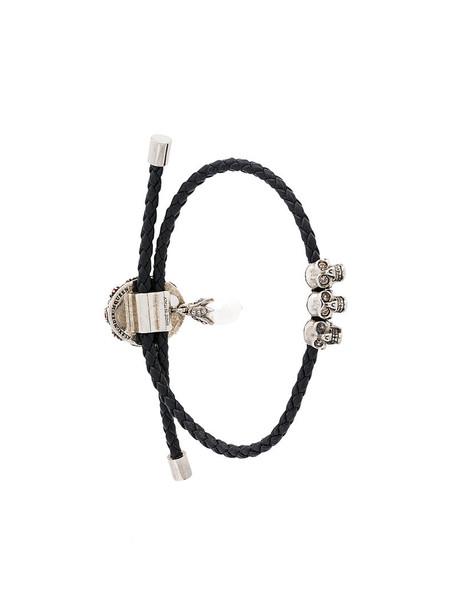 Alexander Mcqueen metal women charm bracelet leather black jewels