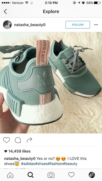 shoes adidas green pink nmd