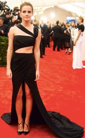 dress emma watson black maxi dress high-low dresses cut out dress