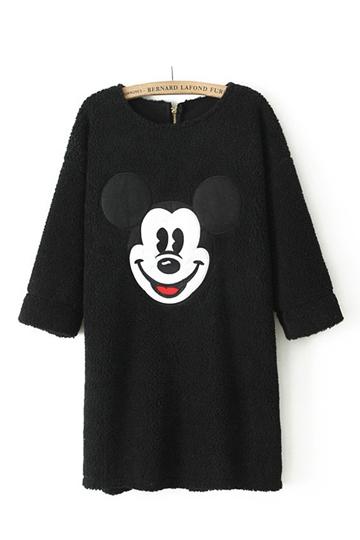 Cute Mickey Pattern Half Sleeve Dress [FXBI00394]- US$22.99 - PersunMall.com