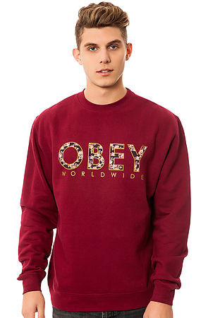 Obey Sweatshirt Floral Worldwide Crewneck in Red -  Karmaloop.com