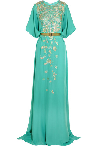 gown embroidered silk turquoise dress