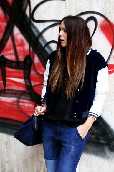 baseball jacket jacket blogger bag jeans irene closet