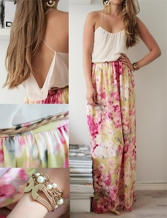 dress tank top belt skirt maxi dress maxi skirt t-shirt boho maxi floral jewels open back white flowers shirt summer dress spring summer watercolor girly floral dress cream pink flowy long skirt pink dress green floral skirt loose print blouse