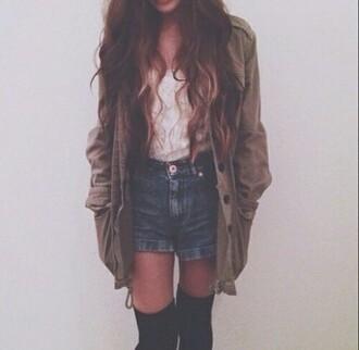 coat blouse shirt jeans shorts socks hipster vintage autumn winter/autumn outfit