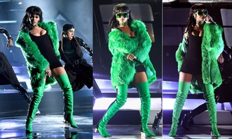 boots rihanna sunglasses green coat thigh high boots mini dress