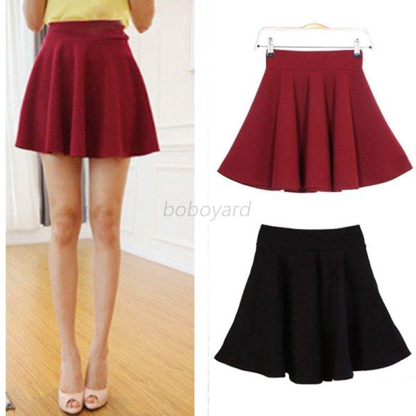 Candy Color Women Lady Dress Women A-line Mini Circle Short Skirt Pleated Dress