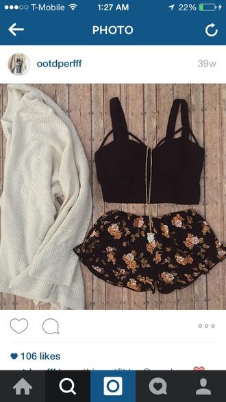 shorts black crop womens cardigans knit cardigans crochet shorts flower shorts crop tops cute summer look white cardigan