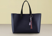 bag,black bag,handbag,fringed bag,finery london,bucket bag,navy,leather bag