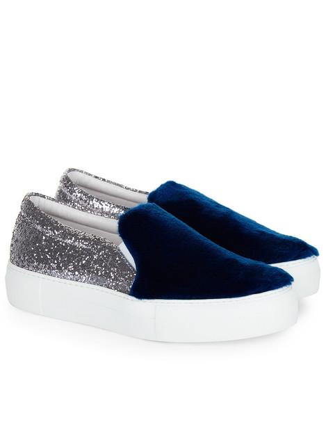 Silver Glitter & Fur Slip-On Sneakers