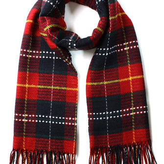 scotland check fringe scarf red