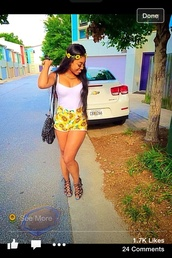 high waisted,flowers,girly,classy,yellow,shorts