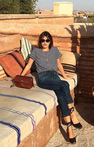 top jeanne damas fashionista striped top sunglasses black sunglasses denim jeans blue jeans espadrilles wedges black sandals sandals bag brown bag spring outfits