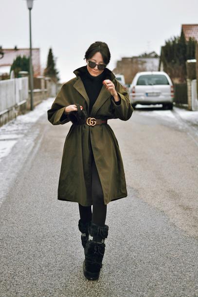 coat tumblr green coat oversized coat oversized belt boots black boots winter outfits winter boots sunglasses