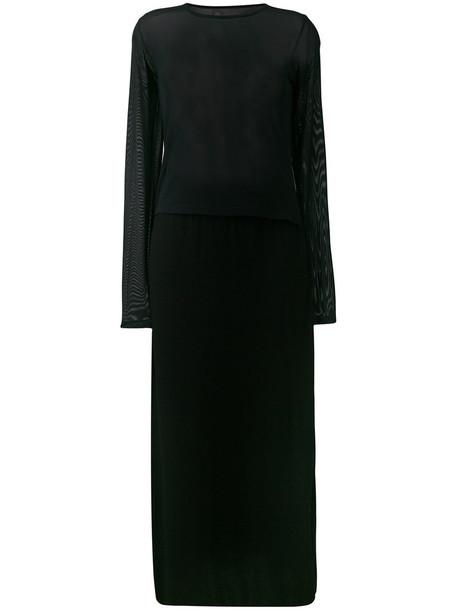 dress mesh women spandex black