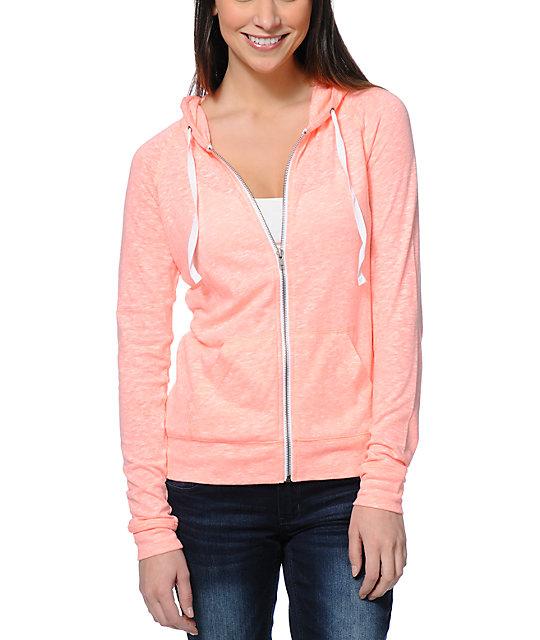 Zine neon coral raglan zip up hoodie