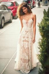 dress,boho,lace dress,cream prom dress,bohemian,bohemian dress,long dress