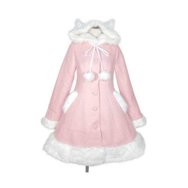 Cat Ear Pompom Coat - Polyvore