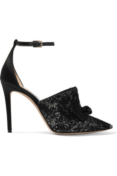 Jimmy Choo 100 pumps black velvet satin shoes