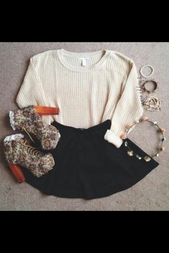 sweater sweatshirt skirt floral black cream pink croppedsweatshirt