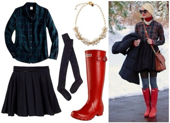 blue green black skirt blouse flannel thigh highs rain boots underwear
