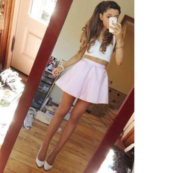 shirt skirt ariana grande white top white tank top crop tops mini skirt white heels