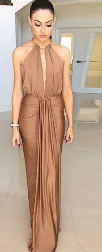 dress gold halter neck dress halter neck goddess drape skirt gold maxi maxi halter goddess dress goddess gold chain dress open back dress open back