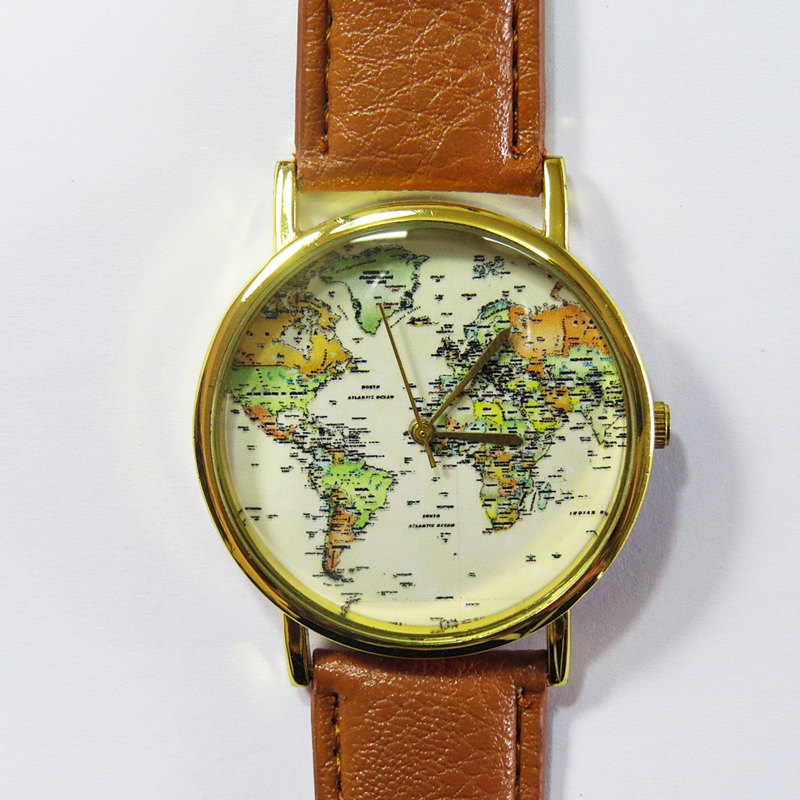 World Map Watch , Vintage Style Leather Watch, Women Watches, Boyfriend Watch, Men's watch, green, yellow