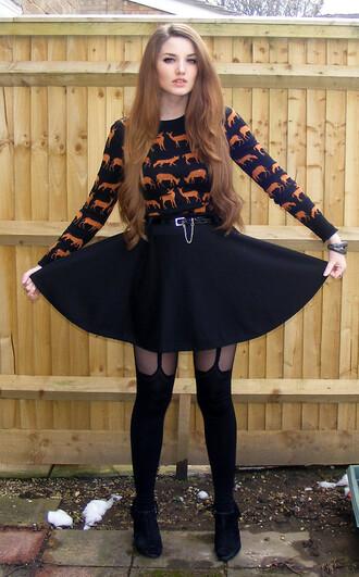 sweater black sweater deer deer sweater fox fox sweater animal print sweater