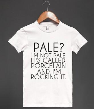 t-shirt pale porcelain white funny joke funny shirt