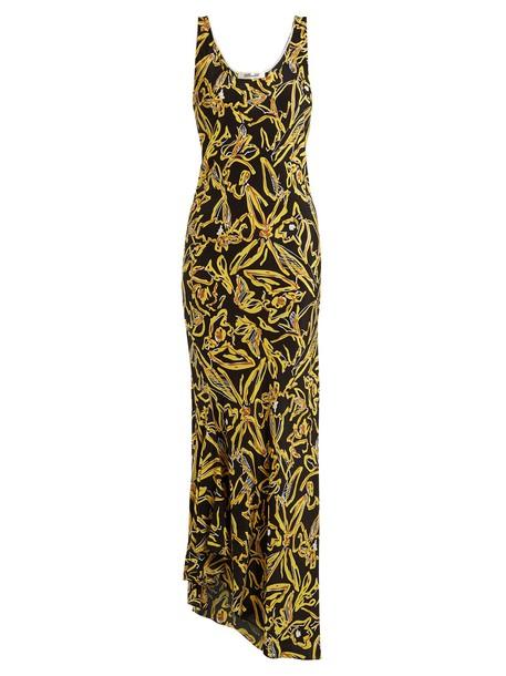 Diane Von Furstenberg dress print silk black yellow