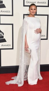 dress,maternity dress,gown,wedding dress,long prom dress,chrissy teigen,grammys 2016,white dress,cape,red carpet dress,clutch,bag