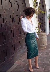 skirt,leather pencil skirt,leather midi skirt,pencil skirt,leather skirt,green dress,midi skirt,karla's closet,green,leather,green skirt