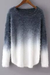 sweater,jumper,comfy,fluffy,grey,greyscale,ombre,ombre sweater,fuzzy sweater