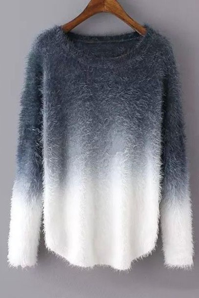 Sweater Jumper Comfy Fluffy Grey Greyscale Ombre