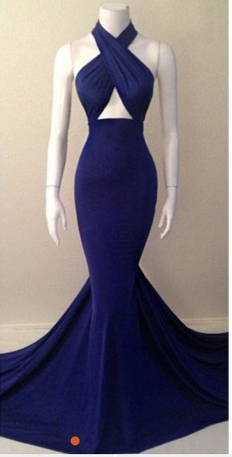 dress royal blue halter neck mermaid prom dress prom long prom dress evening dress wrap dress