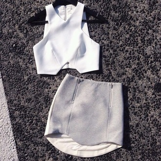 shirt crop tops white grey gray skirt neoprene outfit neutral fashion clothes top cut-out tank top asymmetrical skirt