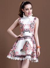 dress,bqueen,fashion,girl,party,sweet,cute,retro,lapel,jacquard,beaded,print,summer,flowered shorts